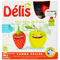 100% ovocné pyré Délis jablko-jahoda 4x90g