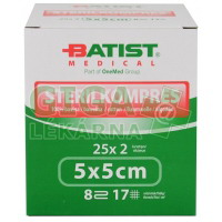 Gáza komprese sterilní Batist 5x5cm 25x2ks