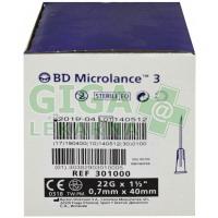 Inj. jehla BD Microlance 22G 0.70x40 černá 100ks