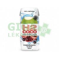 Voda kokosová 100% s granátovým jablkem a acai 330ml H2COCO