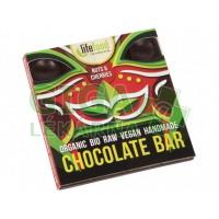 Lifefood Raw čokoláda z nepraženého kakaa BIO s kousky ořechů a třešní 35g