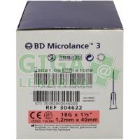 Inj. jehla BD Microlance 18G 1.20x40 růžová 100ks
