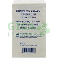 Gáza komprese nesterilní 7,5x7,5cm 100ks 8 vrstev