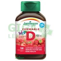 JAMIESON Vitamín D3 Kids Jahoda tbl.na cuc.100ks