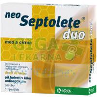 Neoseptolete Duo med a citron 18 pastilek