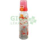 Obrázek NUK Dětská láhev sklo 240ml savička silikon V1 (0-6)