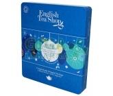 English Tea Shop Dárková plechová kazeta Vánoční modré ozdoby BIO 72 sáčků