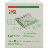 Gáza hydrofilní skládaná komprese Gazin 10x10cm 100ks 8vrstev