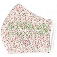 Rouška textilní 3-vrstvá 1ks, MD class I, Červené květinky S