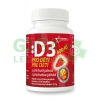 Vitamín D3 400IU pro děti - jahoda 30 tablet